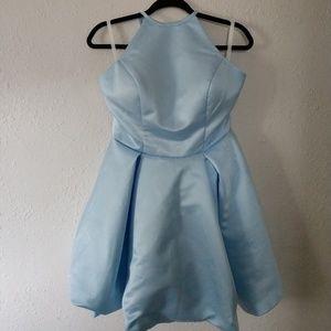 Light Blue Silk Short Homecoming/Formal Dress